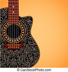 background with clipped guitar and stylish ornament -...