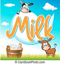 milk tag with cow and pail on green