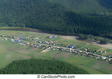 Ariel View Village with Forests - Small isolated village...