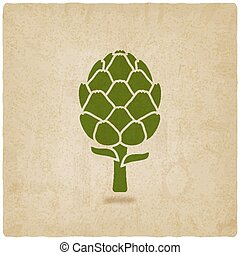artichoke symbol on old background - vector illustration....