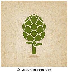 artichoke symbol on old background - vector illustration....