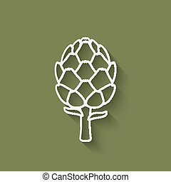 artichoke symbol on green background - vector illustration....