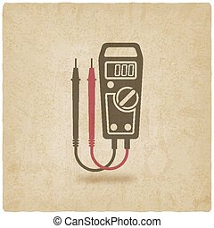 digital multimeter symbol old background - vector...