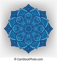 Blue floral round ornament - vector illustration. eps 8