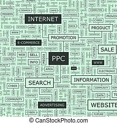 PPC Word cloud illustration Tag cloud concept collage