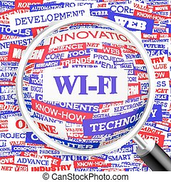 WI-FI. Concept illustration. Graphic tag collection....