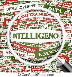 INTELLIGENCE. Concept illustration. Graphic tag collection....