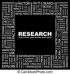 RESEARCH Word cloud concept illustration Wordcloud collage...