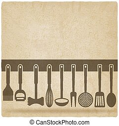 Kitchen Utensil Set old background - vector illustration eps...