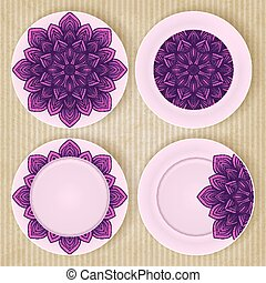 Plates with floral pattern set on retro background