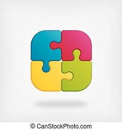 color puzzle creative symbol - vector illustration. eps 10