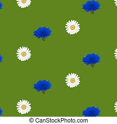 Seamless pattern with flowers chamomile, cornflowers -...