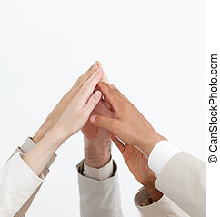 Close-up of hands up showing positivety isolated on a white...