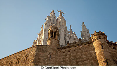 Tibidabo - The Sagrat Cor church atop the mountain....