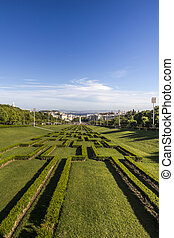 park Eduardo vii located in Lisbon, Portugal - View of the...
