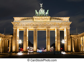Magdeburg gates at night in Berlin