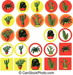 set of flat icons with the image of Mexican cactus