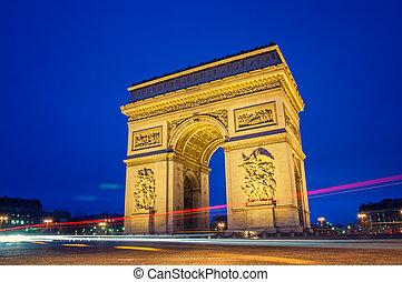 Paris  - Arc de Triomphe in Paris at night