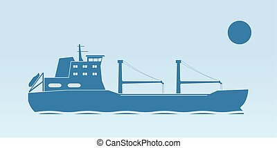 Industrial ship - Silhouette of industrial ship Vector...