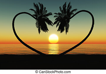 Sunset at the tropical beach with coconut palm trees silhouette.