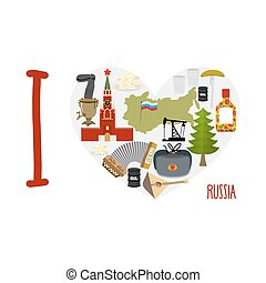 I love Russia. Heart of sights of Russian Federation. Russia...