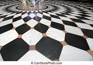 Black and white floor - Floor with black and white paving...