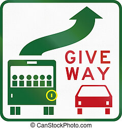 Give Way To Bus In Australia - Australian regulatory sign -...