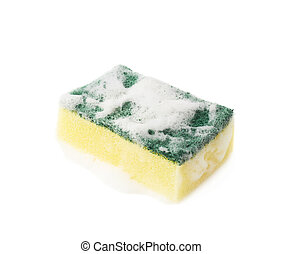 Kitchen sponge covered with foam - Kitchen dish washing...