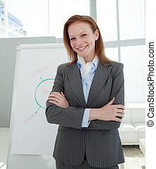 Attractive businesswoman with folded arms at a presentation...