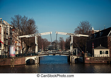 drawbridge in Amsterdam in the afternoon
