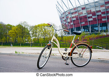 ladies bicycle near the stadium in Warsaw