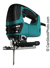 new professional jig saw on a white background.