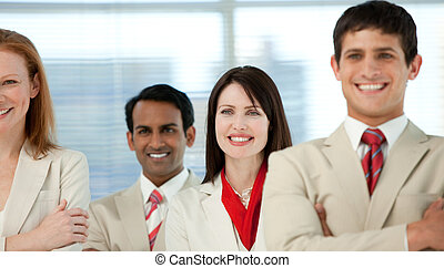 Close-up of international business people with folded arms