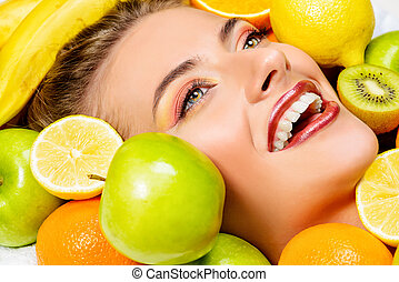 fruits smile - Close-up portrait of a beautiful smiling...
