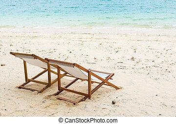beach chair on the beach at Naka Noi Island, Phuket Thailand