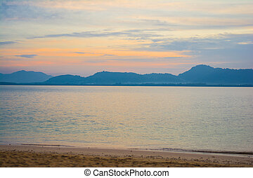 beautiful sunset at Naka Noi Island, Phuket Thailand