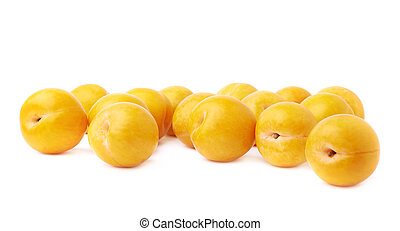 Pile of multiple yellow plums isolated - Pile of multiple...