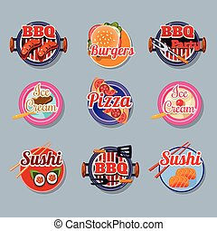 Set Stickers of Food