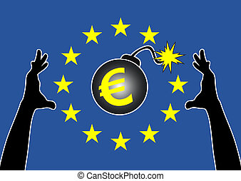 Eurozone Rescue Plan - Humorous concept sign of the frantic...