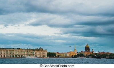 View Winter Palace in Saint Petersburg from Neva river...