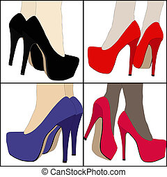 The legs and womens shoes - Illustration representing the...