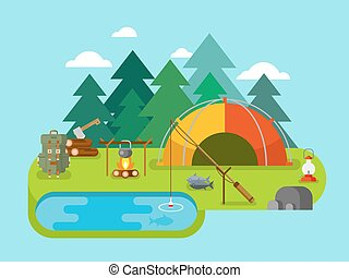 Outdoor Recreation. Fishing Camp