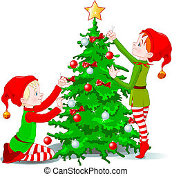Elves decorate a Christmas Tree - Two cute elves decorating...