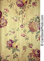 Vintage wallpaper with floral pattern - Vintage beige...