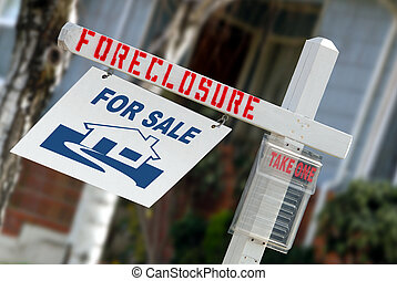 Home Forclosure Sign - For Sale Real Estate Sign With...