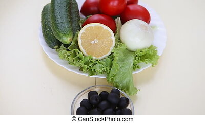 Plates with greek salad and ingridients - Picture of plates...