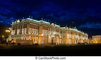 The Winter Palace from Palace Square in night.St....