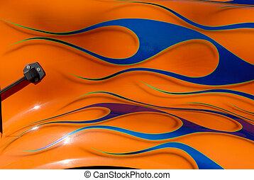 Blue Flames on Orange Fender