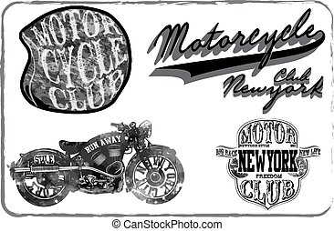 Motorcycle Racing Typography Graphics and Poster. Skull and...