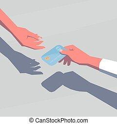 Female hand giving a credit card. Retro style illustration.